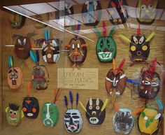 African masks from microwavable dinner trays 3rd-4th grade