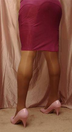 Visible Garter Bumps Under Burgundy Half Slip Sheer Stockings and Pink High Heels