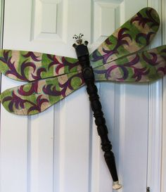 Table Leg Dragonfly Garden or Wall Art Hand by LucyDesignsonline, Stripes and Swirls, Fork antenna