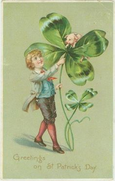 Great vintage St Patrick's day postcard - boy with four leaf clover and pig
