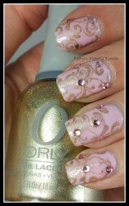 It's Not Old, It's Vintage by Betty's Beauty Bombs Pinned by www.SimpleNailArtTips.com #nails #nailart #stamping #essie #pink #gold