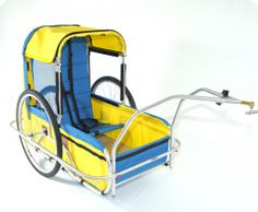 This is an adaptive bike trailer.  Physically disabled clients are safely harnessed into a seat that enables them to be pulled along while attached to the back of a bicycle.