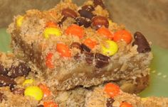 Moist inside chocolate and peanutbutter in sweet oat crust posted by Coleens Recipes