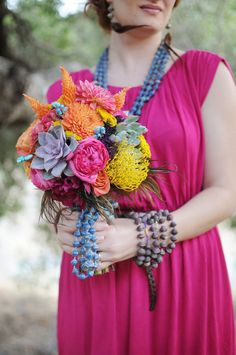 vibrant bouquet with beads.