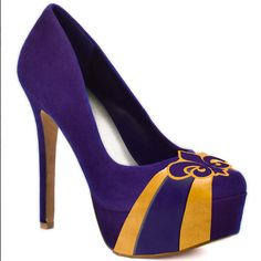 Louisiana Fluer De Lis High Heel Microsuede Pumps by Hollyjoffrion, $99.99