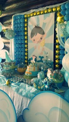 Cute Angel Baptism Party!  See more party planning ideas at CatchMyParty.com!