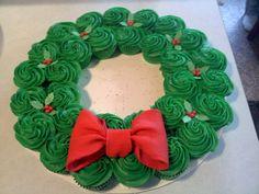 Cupcake Wreath for Christmas