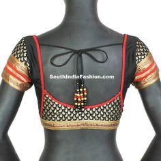 Beautiful Black Brocade Blouse Model ~ Celebrity Sarees, Designer Sarees, Bridal Sarees, Latest Blouse Designs 2014 South India Fashion