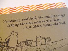 The Smallest Things  Winnie the Pooh Quote  by prettypetalspaper, $3.25