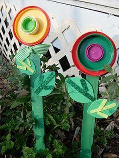 Flower Lids on Paint sticks