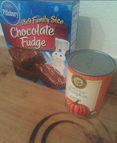 2 Ingredient Brownies = Brownie Mix + Canned Pumpkin