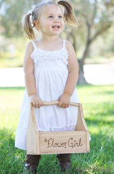 Love this sweet, simple Rustic Flower Girl slip dress!  And beautiful pony tails! <3  #wherebridesgo