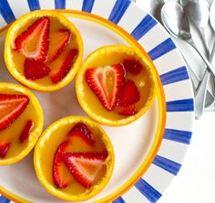 Super easy orange and strawberry jelly cups.