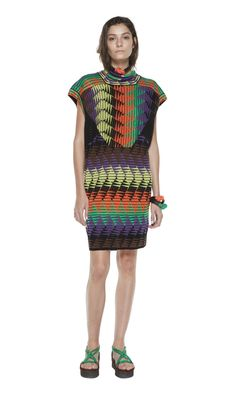 #MMissoni | Digital argyle Tribal dress in knit cotton and viscose. Multiple colors create a vertical diamond pattern working within the black trait d'union | Summer 2014 Collection