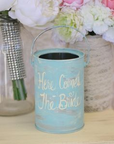 Flower Girl Basket Here Comes The Bride Sign Shabby Chic Wedding Decor