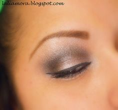 Shimmery eyeshadow. taupe and bronze