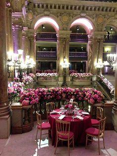 Le Tricentenaire de l'Opéra de Paris table settings, wedding receptions, monday, pari, 300 year, pink weddings, floral decorations, dance, danc school