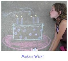 Interact with sidewalk chalk....and take cute pictures of it. :) sidewalk art, art birthday, happy birthdays, chalk photo, sidewalk chalk, chalk drawings, birthday photos, 13th birthday, birthday cakes
