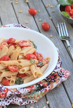 Pasta Salad with Tomatoes, Basil, and Fresh Ricotta