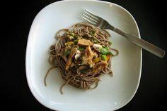 Quick Scallion Seitan Saute over Soba Noodles—6 ingredients, 1 delicious dish.