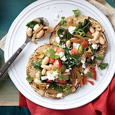 White Bean and Spinach Tacos look fantastic for Phase 1 (saute in broth or water, instead of grapeseed or olive oil) or Phase 3. Serves 3, each with a sprouted-grain tortilla (skip the optional cheese).