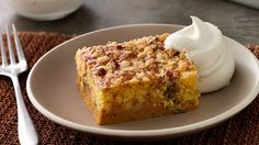 This pumpkin pie cake combines traditional pumpkin pie with a buttery, crispy topping made from yellow cake mix.