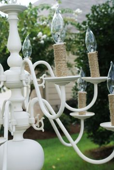 I have an old chandelier that needs a makeover.  This is so cute!