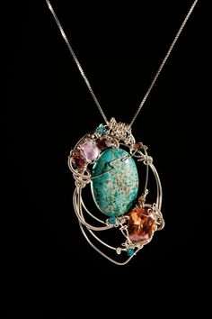 wire jewelry | Sterling Silver Wire Wrapped Jewelry: Chrysocolla & Citrine Pendant ...
