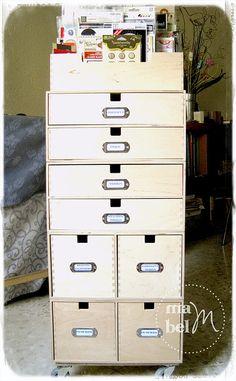 Craft organizer made from various Ikea storage boxes- Mabel Scraps