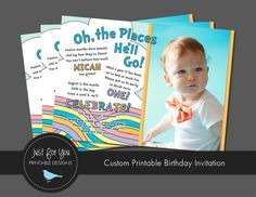 First Birthday Invitation - Oh the Places You'll Go - YOU PRINT (Digital File) Custom Printable Birthday Party Invitation on Etsy, $12.00