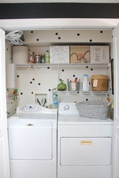 I'd love a second shelf -- maybe a half shelf, so I can hang up clothes there as I take them out of the dryer.