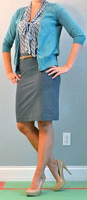blue tie blouse, grey skirt, teal cardigan