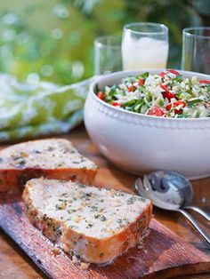 A lemon, garlic, olive oil, and herb marinade provides flavor and keeps the swordfish moist during grilling. Serve with the summery orzo salad to round out the meal.