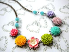 Colorful Necklace Flower Necklace Turquoise Choker Necklace Pendant Necklace