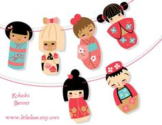 Printable Kokeshi Dolls Banner PDF