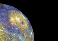 Mercury's Caloris Basin: The sprawling Caloris basin on Mercury is one of the solar system's largest impact basins. Created during the early history of the solar system by the impact of a large asteroid-sized body, the basin spans about 1,500 km and is seen in yellowish hues in this enhanced color mosaic. Credit: NASA