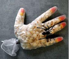 Kid Halloween treats- popcorn hand with spider ring