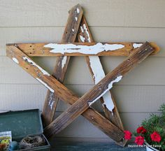 DIY- Make a nice rustic star with 5 picket fence boards or other scrap boards you have~
