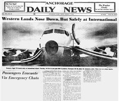 emergency landing chutes deployed western airlin, aircraft frontal, aircraft mishap, vintag airlin, airlin advert, frontal stuff