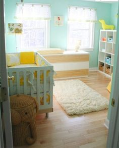 Cool Adorable and Cozy Baby Nursery Room Design Idea in a Turquoise Color