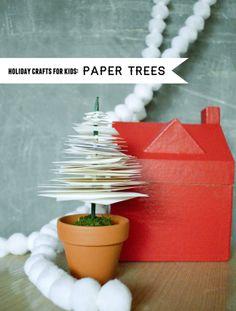 kids diy, modern christma, christmas tree decorations, tree crafts, holiday crafts, craft ideas, paper trees, christmas trees, paper houses