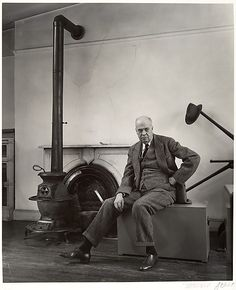 Edward HopperPhotogrpahed by Bernice Abbott in his studio on Washington Square - the space is still extant. #GISSLER #interiordesign
