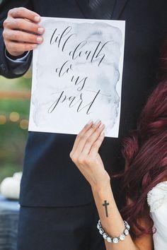 Til death do us part, photo by Analisa Joy http://ruffledblog.com/til-death-do-us-part-styled-wedding #papergoods #stationery #calligraphy
