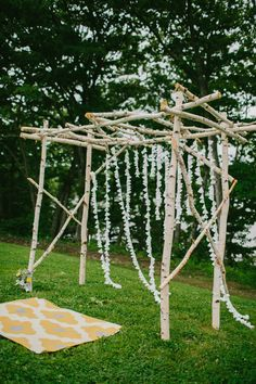 birch ceremony altar, photo by Emily Delamater http://ruffledblog.com/marianmade-farm-wedding #weddingideas #ceremonies