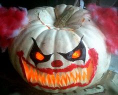 Halloween on pinterest halloween foods scary clowns and for Clown pumpkin painting