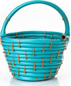 Basket made from a Garden Hose and Zip Ties this is so cool-  Great Gift to welcome a new Neighbor too!