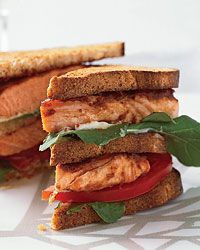 Salmon Club Sandwiches and more healthy baked fish recipes on MyNaturalFamily.com #fish #recipe
