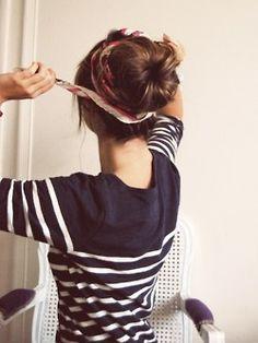 head scarfs, headband, messy buns, hairstyl, silk scarves, stripe, hair buns, shirt, sock buns