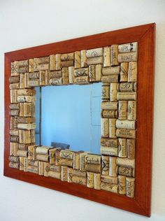wine cork mirror frame - would look awesome in the basement