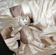 bear, wedding dress blanket, wedding dress quilt, bridesmaid dresses, christening gowns, baby blankets, wedding dress baby blanket, quilt from wedding dress, babi blanket